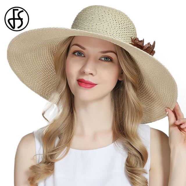 bbd2d894 FS Summer Straw Hat For Women Floppy Wide Brim Sun Visor Cap With Big Head  Fashion