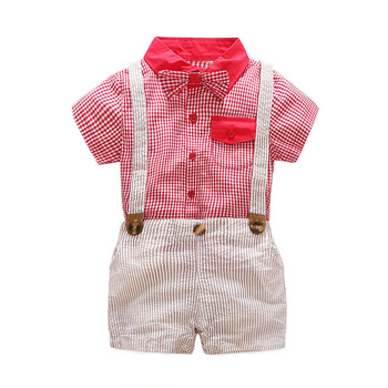 Baby Boy Clothes 2018 Boys Plaid Bow Shirts with Cotton Overalls Kids Boys Fashion Casual Sets Kids Gentleman Outfits Clothing