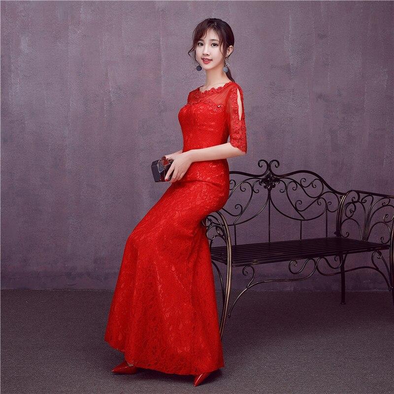 Free Shipping Real Photo RED Lace O neck Half Sleeves Bridesmaid ...