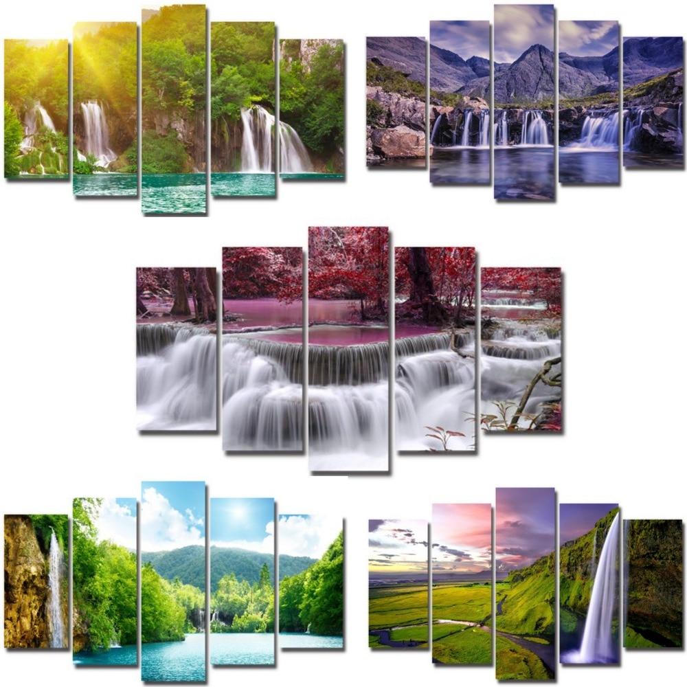 5 panneaux toile peinture tropicale cascade nature ensemble mural photo impression œuvre encadrée pour salon prêt à accrocher