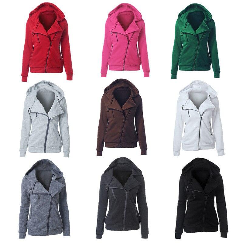 Hoodies Women Zipper Warm Warm Fashion  Long Sleeve Hoodies Jackets Hoody Jumper Overcoat Outwear Female Sweatshirts Harajuku