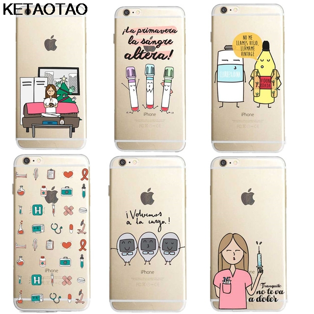 Ketaotao Spain Medicine Nurse Doctor Phone Cases For Iphone 4s 5c 5s 6s 8 Plus Xr Xs Max Case Crystal Clear Soft Tpu Cover Cases Phone Bumper Cellphones & Telecommunications