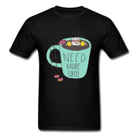 Cup Cat Needs More Coffee Funny 2018 Newest Cartoon Design Tee Shirts Men S Cotton Short