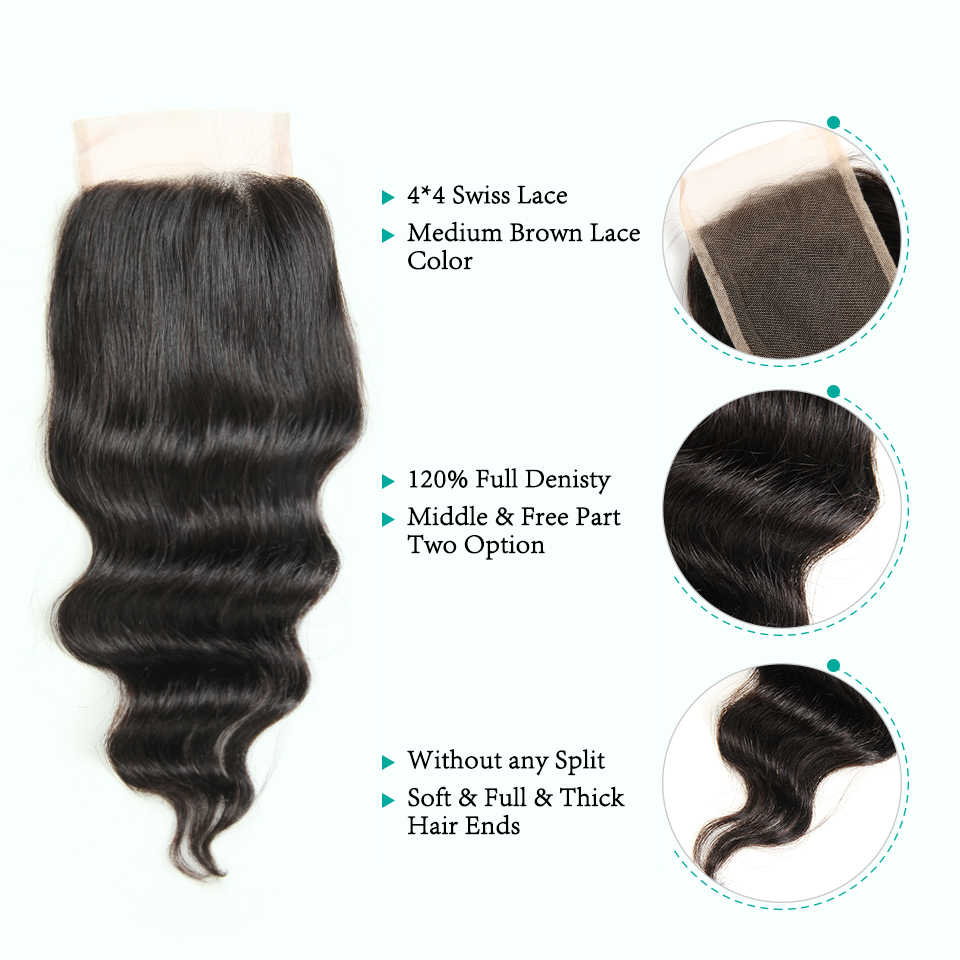 Ali Grace Human Hair 3 Bundles With Closure 100% Remy Hair Malaysian Loose Wave Hair with 4*4 Hand Tied Lace Closure
