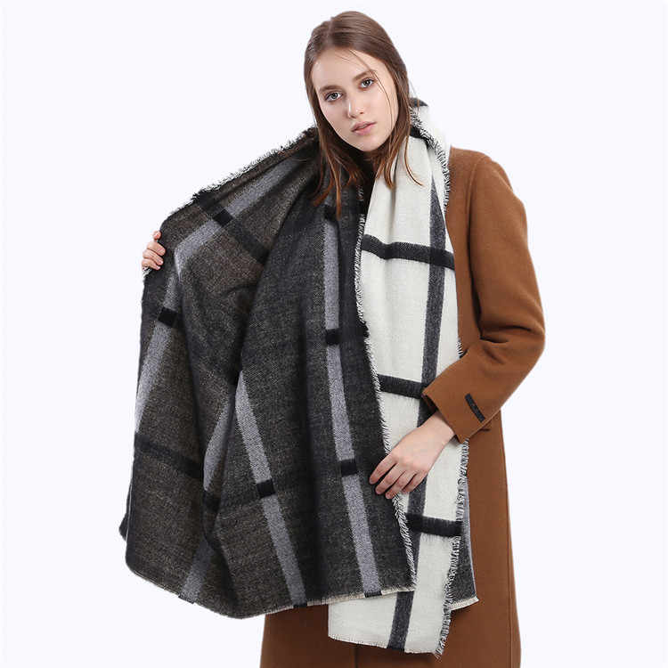 POBING зимний шарф Для женщин черный, белый цвет в полоску Шарфы и манишки za в шотландскую клетку платки теплые кашемировые пашмины женский Одеяло шарф