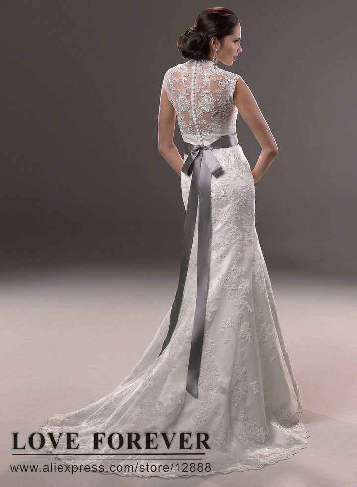 2017 Vintage New White Ivory Mermaid Bridal Wedding Dress Lace With Gray Sash Short Sleeve Vestido De Noiva In Dresses From Weddings Events On