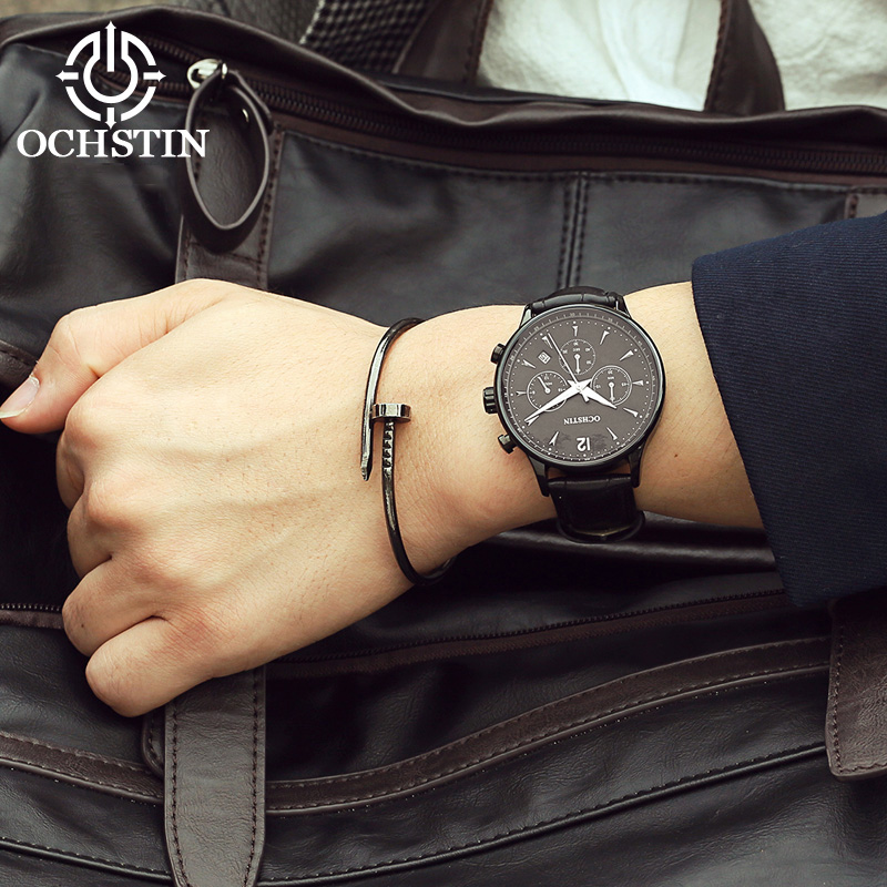 Image 3 - 2017 Top Luxury Brand OCHSTIN Men Sports Watches Men's Quartz Date Clock Man Leather Military Wrist Watch Male Relogio Masculino-in Quartz Watches from Watches