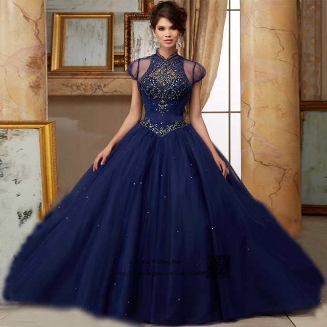 Luxury Navy Blue Quinceanera Dresses 2017 Rhinestones Plus Size ...