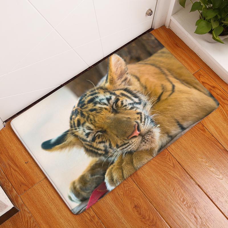 Cartoon Flannel Carpet Tiger Printing Mat For Living Room 40x60cm 50X80cm  Door mat Rectangle Tapete - us244 176366f92dc4