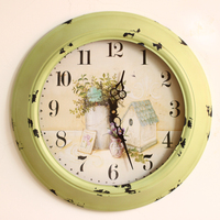 Fashion big circle rustic wall clock table vintage retro finishing wrought iron mute clock fashion decoration wall clock
