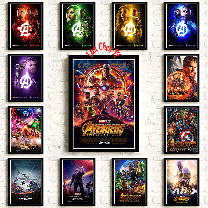 ae8bf9301 Avengers Infinity War Marvel Movie Coated paper poster Cafe Vintage High  quality Printing Drawing core Decorative Painting