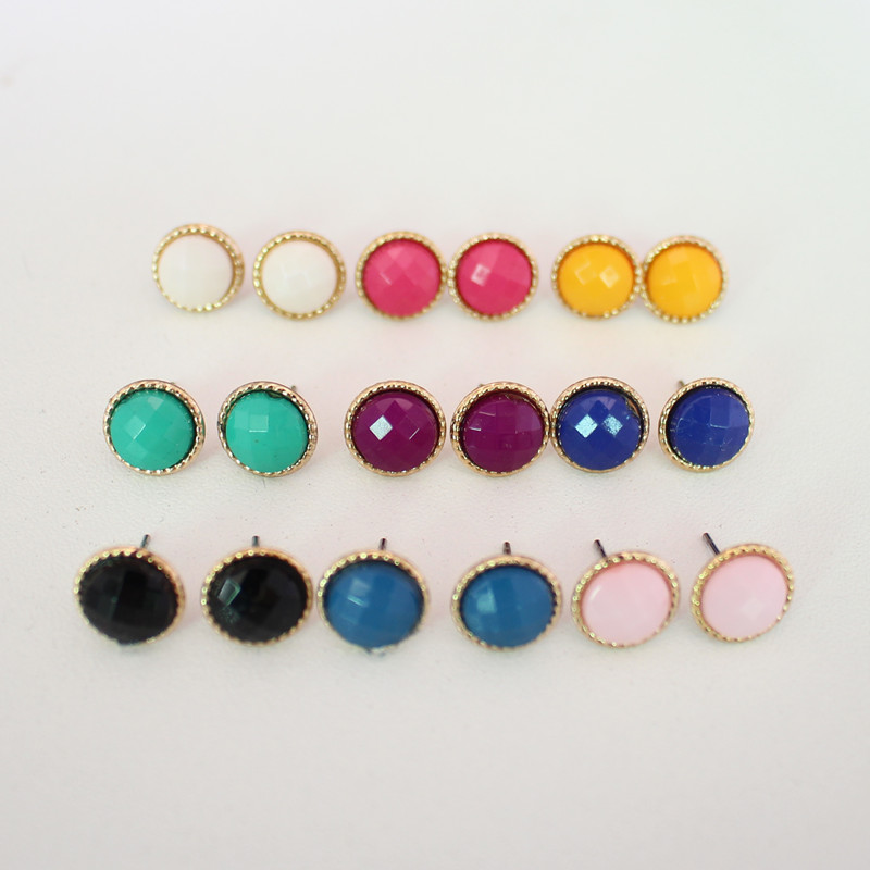 51571a4f3474a ᐂ9 pairs/lot Fashion Women Small Round Earrings Set Rainbow Colors ...