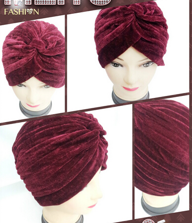 FREE SHIPPING 2017 NEW HEAD WRAP INDIAN STYLE TURBAN HAT BURGUNDY/NAVY/BLACK/DARK GREEN COLOR SOFT VELVET FOR WOMEN/LADIES new fashion indian style velvet flapper jeweled brooch swomen turban headband ear warmer hat g 254