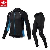 Мужская одежда для велоспорта зимний термальный флисовый Джерси Santic с длинным рукавом Велоспорт Джерси Набор Mtb велосипед одежда Велоспорт