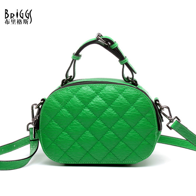 BRIGGS Brand Plaid Circular Genuine Cow Leather Women Handbags High Quality Shoulder Bags Messenger Crossbody Bag For Women maihui designer handbags high quality shoulder crossbody bags for women messenger 2017 new fashion cow genuine leather hobos bag