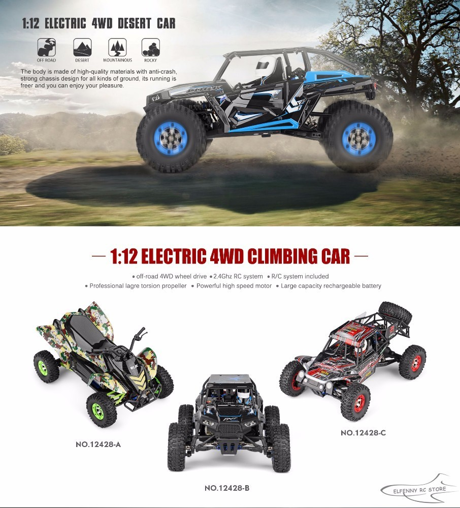 Original Wltoys 12428 Rc Car 1/12 Scale 2.4g Electric 4wd Remote Control Car 50km/h High Speed Rc Climbing Car Off-road Vehicle Remote Control Toys Toys & Hobbies