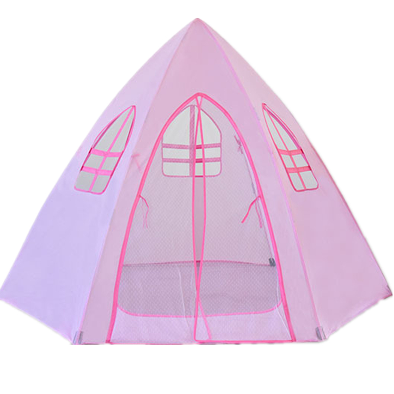 Pink Tent for Girls Playing Game House Indoor Outdoor Foldable Castle for Kids Birthday Gift