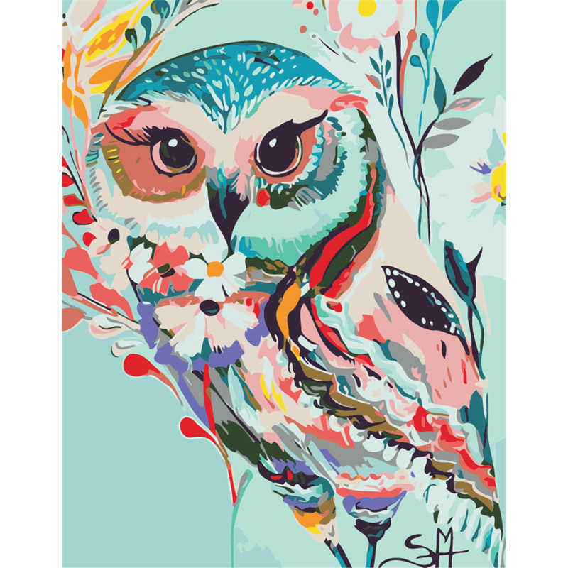 No Frame Colored Owl Animal DIY Painting By Numbers Paint On Canvas Acrylic Coloring Painitng By Numbers For Home Wall Decor