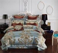 Роскошные вышитые сатин жаккард постельные принадлежности кровать шелк King queen Размеры пододеяльник кровать плоский лист набор 4 /6/10 шт.