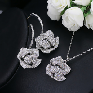 Image 5 - CWWZircons Fashion Brand Women Jewelry Beautiful Micro Pave Cubic Zirconia Flower Drop Pendant Necklace And Earrings Set T065