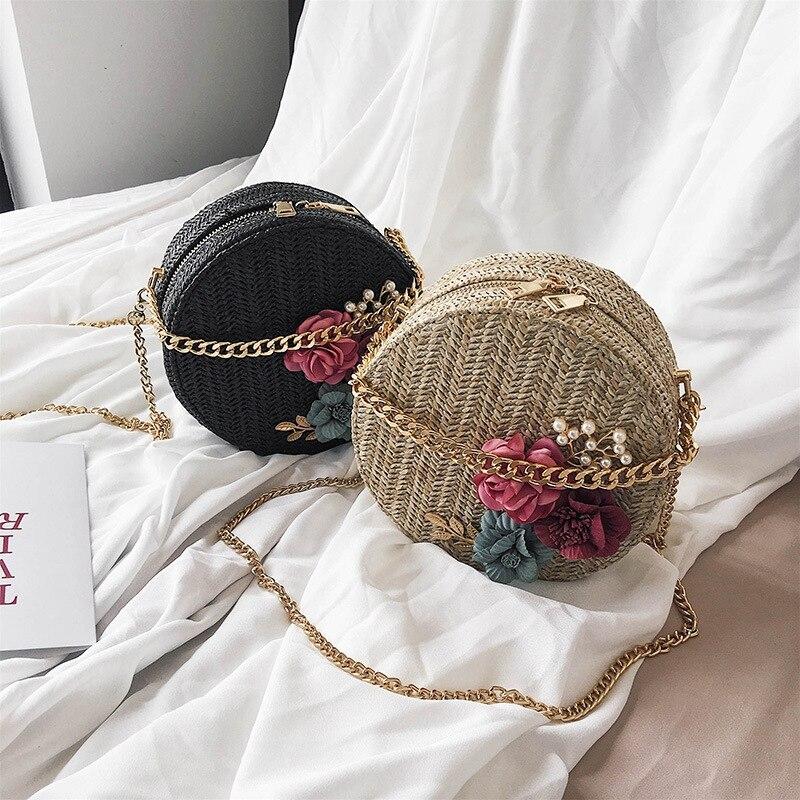 Новинка 2019, модная женская пляжная плетеная солома с цветочным рисунком, сумки из ротанга, праздничная сумка на плечо, круглая сумочка