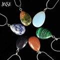 JINSE BLS155 Agua Gota de La Manera Del Encanto Del Collar de Turquesa Natural Opal Piedra de Cristal Collar de Los Colgantes para La Joyería Moda Mujer