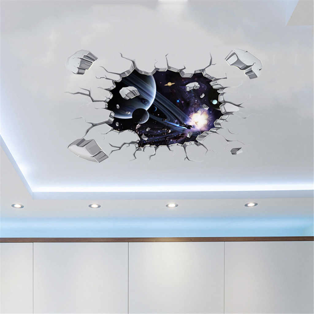 3D DIY Family Decoration Stickers Ceiling Wall Sticker PVC Poster Removable Mural Decals Vinyl Art Room Space Decor Wallpaper