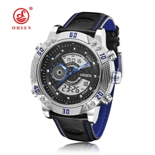 2016 Men s Quartz Digital Watch Men Sports Watches Relogio Masculino Relojes OHSEN AD1609 Leather Strap