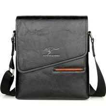 العلامة التجارية الكلاسيكية الرجال حقيبة Vintage نمط الرجال عادية حقيبة ساع جلدية الذكور CrossBody حقائب عمل الكتف للرجال