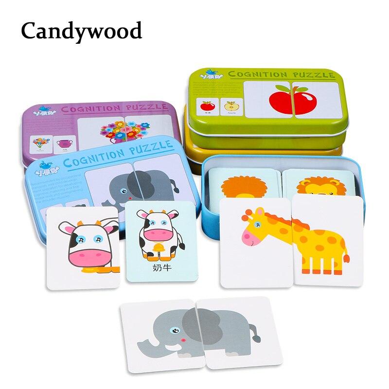 Niños juguetes gráfico juego rompecabezas aprendizaje tarjeta Animal de la fruta de la historieta tarjetas de tráfico juguetes de madera juguetes educativos para niños