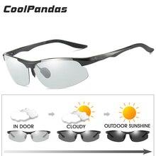 Alüminyum magnezyum çerçeve polarize fotokromik güneş gözlüğü erkek sürüş tüm hava güneş gözlüğü HD Anti UV Lens güneş gözlüğü UV400