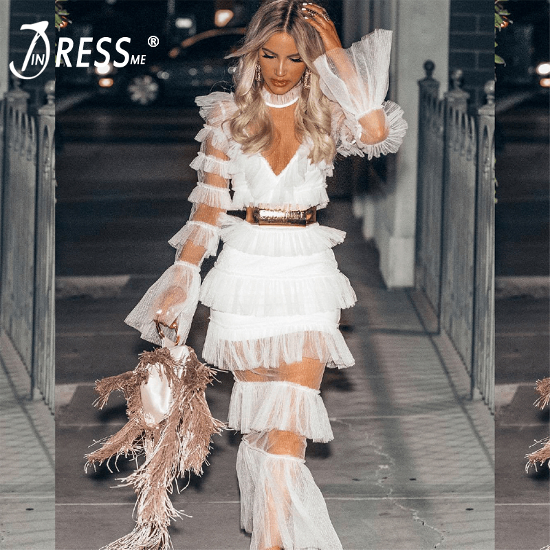INDRESSME New 2018 Women Bodycon Dress Floor Length Stand Neck Lace Falbala Gown Sexy Club Party