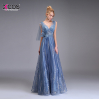Robe de Soiree Longue 2018 A Line Evening Dress Long Tulle Embroidery Formal Party Floor Length Sexy Lace Prom Evening Gown