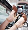 Decoración del bloque del color pequeñas yardas 32 33 punta abierta sandalias atractivas más el tamaño 40 - 43 talones finos de tacón zapatos mujer
