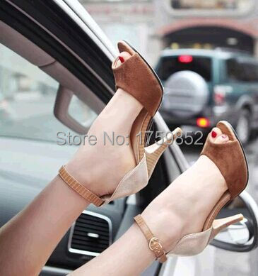color block decoration small yards 32 33 open toe sandals sexy  plus size 40 - 43 thin heels high-heeled women shoes