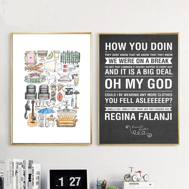 الأصدقاء التلفزيون تظهر Quotes خلفية قماش الملصقات يطبع جدار الفن اللوحة الزخرفية صورة الحديثة نوم ديكور المنزل الإطار
