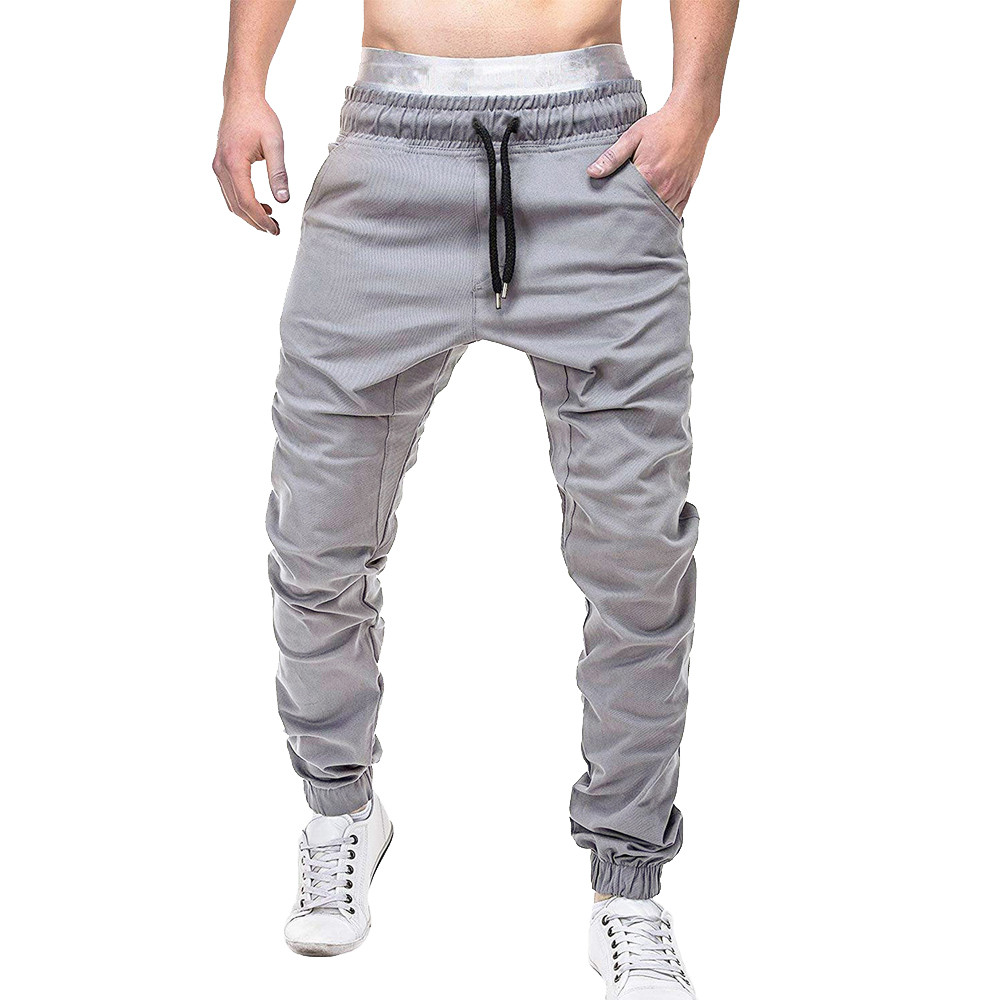 Men Sweatpants Autumn Slacks Jeans Men Pants Polyester Casual Elastic Jogging Sport Pants Men Cotton Solid Baggy Pocket Trousers