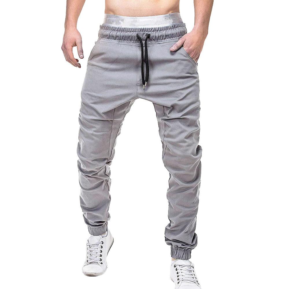 Men Sweatpants Autumn Slacks Men Pants Polyester Casual Elastic Jogging Sport Pants Men Cotton Solid Baggy Pocket Trousers W621