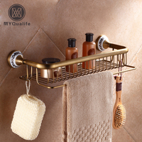 Wholesale And Retail Wall Mounted Rectangle Bathroom Cosmetic Rack Shower Shampoo Shower Gel Shelf Antique Brass