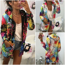 New Fashion Women Long Sleeve Hooded Colorful Jackets Zipper Style Ladies Hoodies Autumn Winter Windbreaker Outwear hooded colorful stripe print long sleeve patterned hoodies