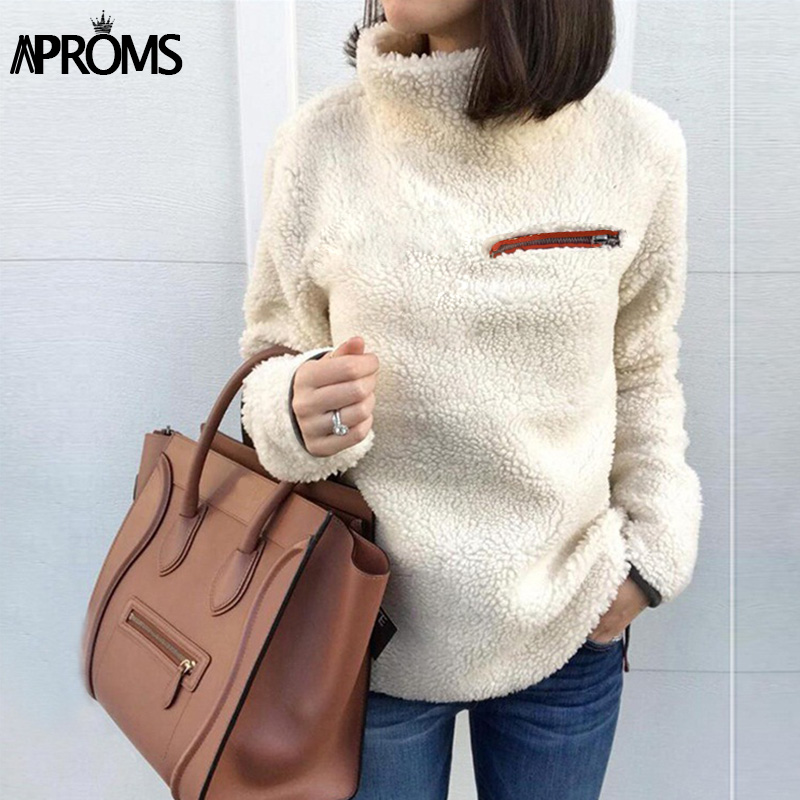 Aproms Soft Teddy Turtleneck Hoodies Women Casual Solid Zipper Sweatshirt Pullover Cool Girls Streetwear Warm Tracksuits Jumper