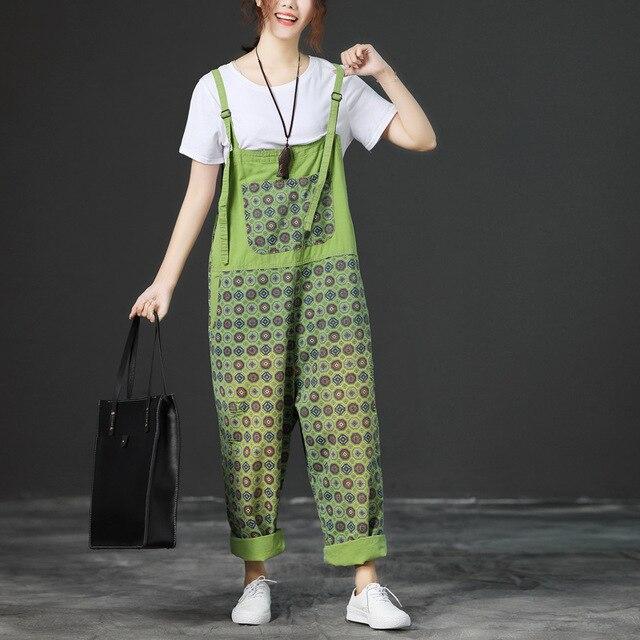 3dce3074456 Women Plus size Print Denim Jumpsuits Baggy Bib Overalls Wide Leg  Suspenders Drop Crotch Pants Boyfriend Jeans Rompers YT7241