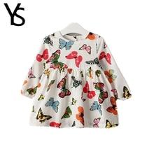 2-6 Years Little Girls Long Sleeve Dress Print Butterfly Kids Dress Children Clothes Cotton 3 4 5
