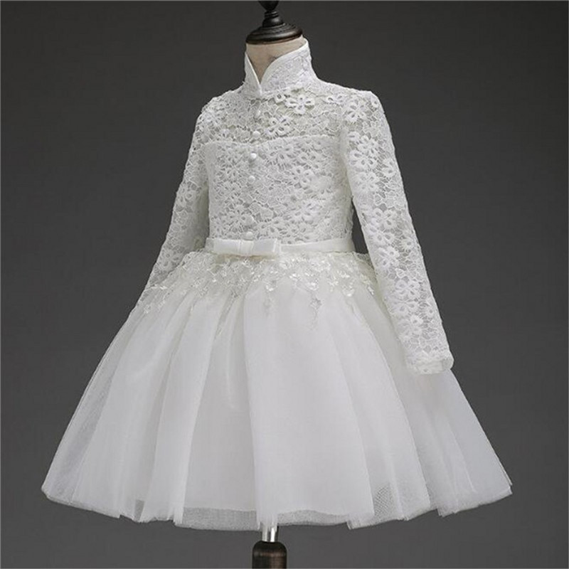 2018 Flower Girl Dress For Wedding Pageant Prom Party White Lace Dress Baby Kids Clothes Toddler Children Events Special Gown brand toddler baby girl flower wedding dress evening prom gown children clothing girl party wear tulle costume for kids clothes