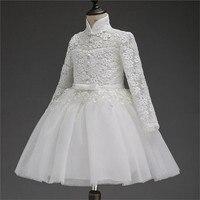 2018 vestido de niña de flores para la boda Pageant partido prom blanco Encaje vestido bebé niños ropa niño niños eventos vestido especial