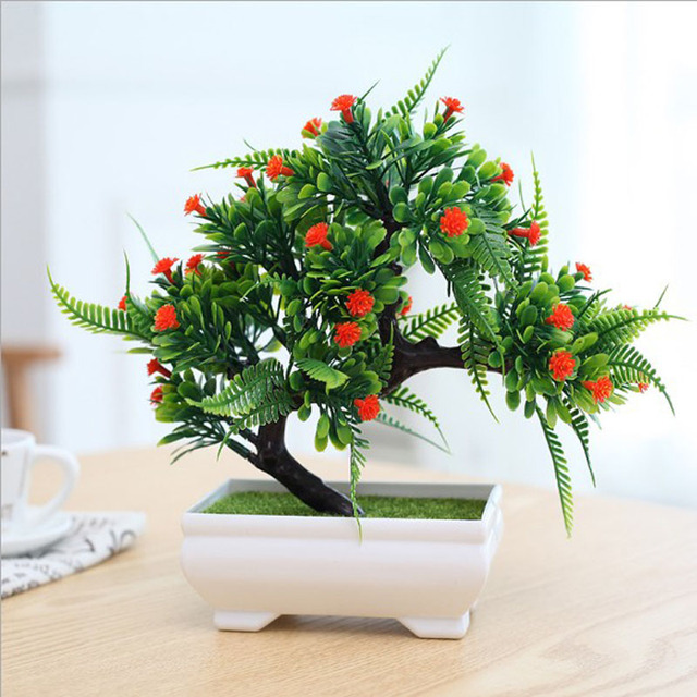 New Fashion Plastic Artificial Tree Plants Ceramics Bonsai Tree Pot Culture  For Office Home Living Room