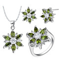 925 Sterling Silver Flower Jewelry Sets Simulated  Austrian Crystal Earring Necklace Pendant Ring Party Jewelry Set for Women