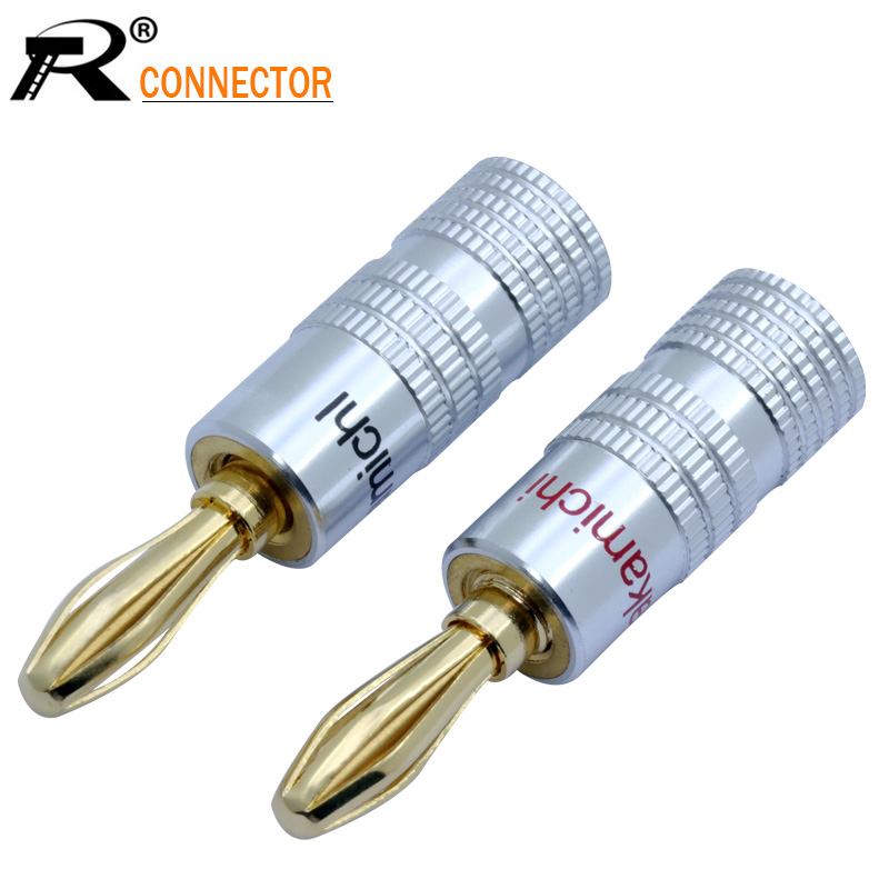 2PCS/1PAIR Nakamichi Banana plug 24K Gold Plated Copper BFA 4mm Banana connector Male Speaker plug black&red gold plated copper bfa 4mm banana plug male speaker connector 4pcs lot