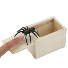 Scaring Trick Play Prank Scare Box Tool Toy Wood Simulation Spider box Joke 9.1x6.1x6.5cm 1pc Festival Kit
