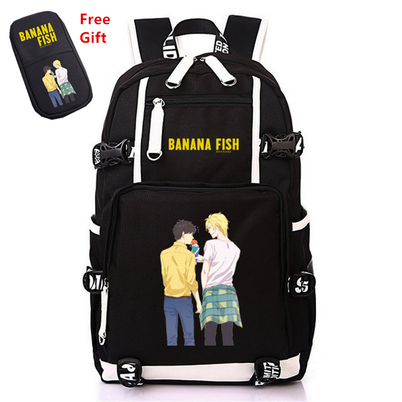 Anime BANANA FISH Canvas Back Pack Cosplay School Bags Anime Laptop Backpack Unisex Travel Backpack Women Shoulder Bags-in Backpacks from Luggage & Bags